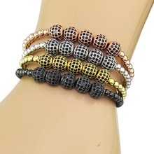 bracelet Men 4mm Copper Balls & 8 mm Micro Pave CZ Beads Braiding Macrame Bracelet pulseras bracelet homme charm bracelet(China (Mainland))