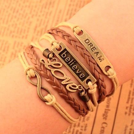 2014 New Design Europe Fashion vintage Charm Elegant believe dream love Infinity cross Multilayer Leather Bracelet wholesalePT36(China (Mainland))