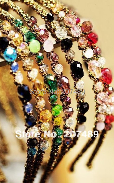 colorful crystal Hairband tie hair hoop tools Maker Hair band forehead hair decoration head band whcn