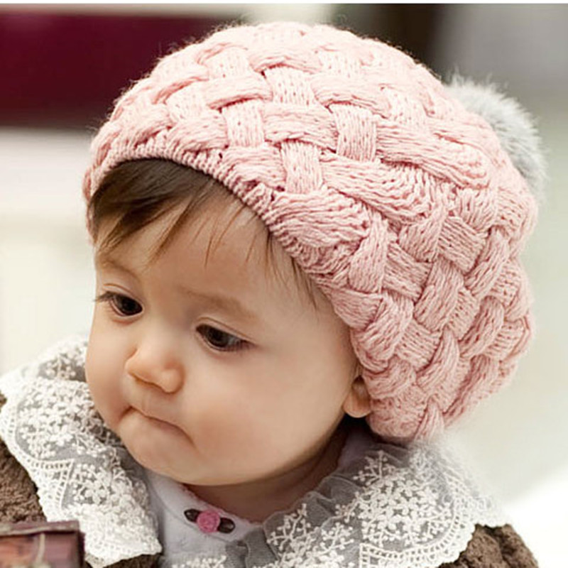 1pc Autumn Winter Hat Cap Kid Baby Girls Hat Bonnet Crochet Knitting Caps Lovely Cute Headwear Caps Infant 4-24 Months AY650595(China (Mainland))