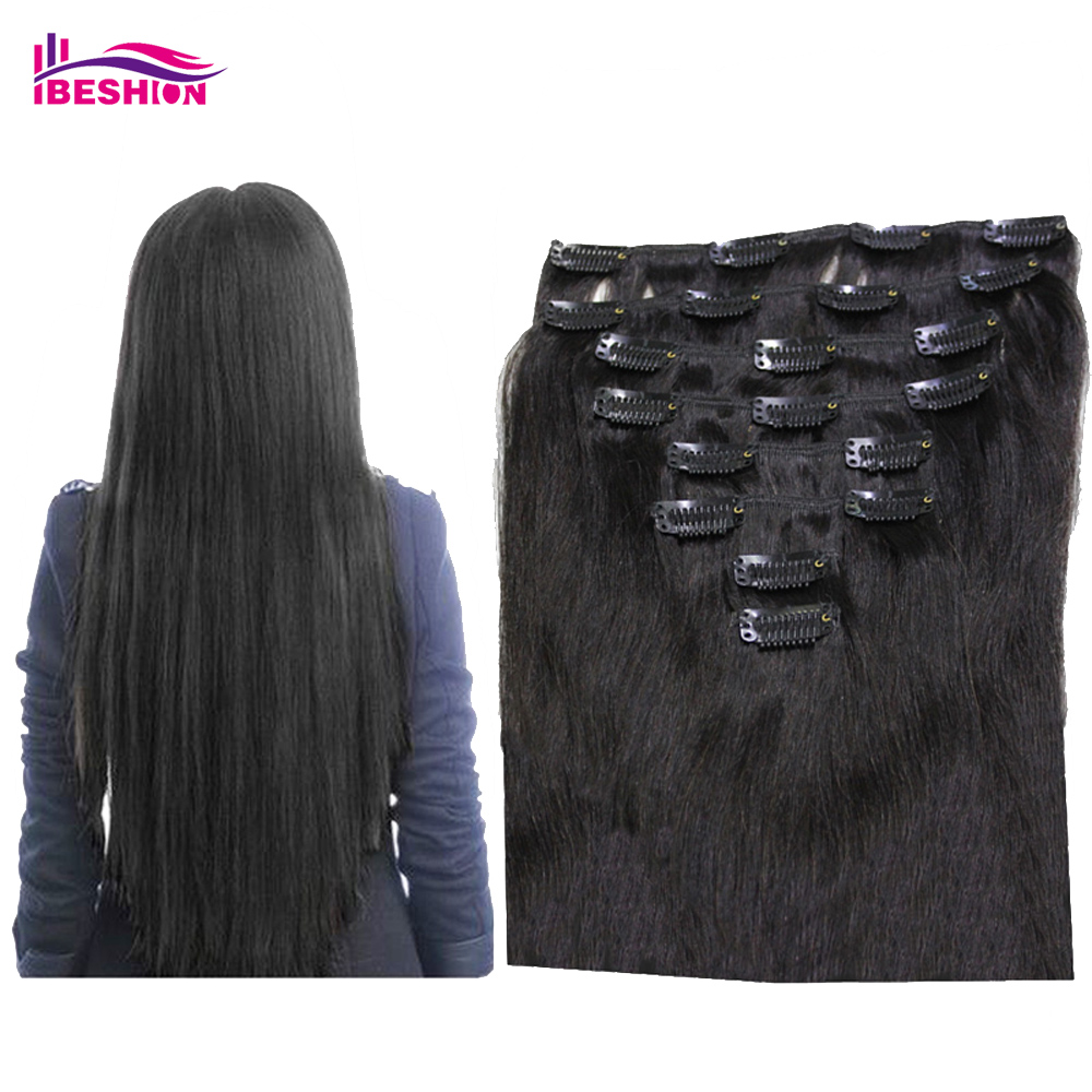 Brazilian Clip In Human Hair Extensions , Straight Clip-In Hair Extensions Full Head 8pcs 120g/set 20 inch color #1b Ibeshion(China (Mainland))