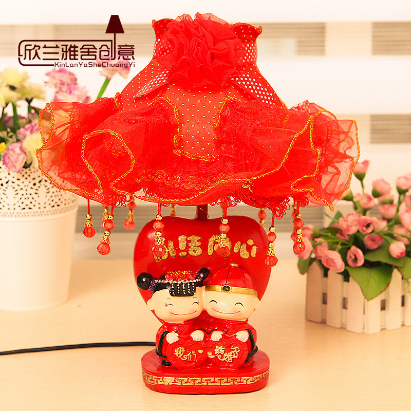 Creative wedding gift wedding room warm and stylish bedside lamp bedroom lamp Chinese red Table Lamps(China (Mainland))