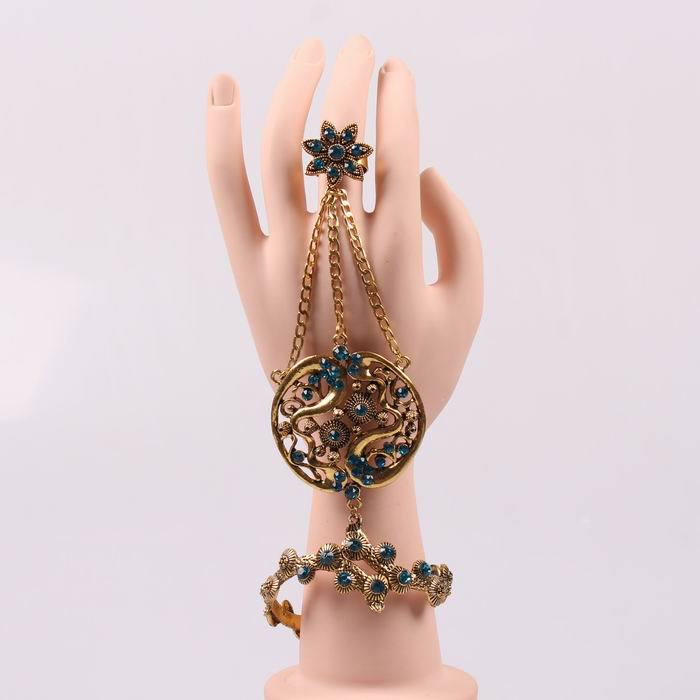 2015 new vintage gold bracelet connected ring indian style bangle sexy elegant party women jewelry(China (Mainland))