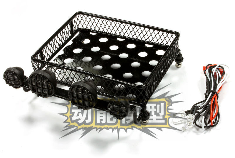 Realistic 1/10 Scale Metal Luggage Tray 100x80mm with 4 LED Spot Light Set CC01(China (Mainland))