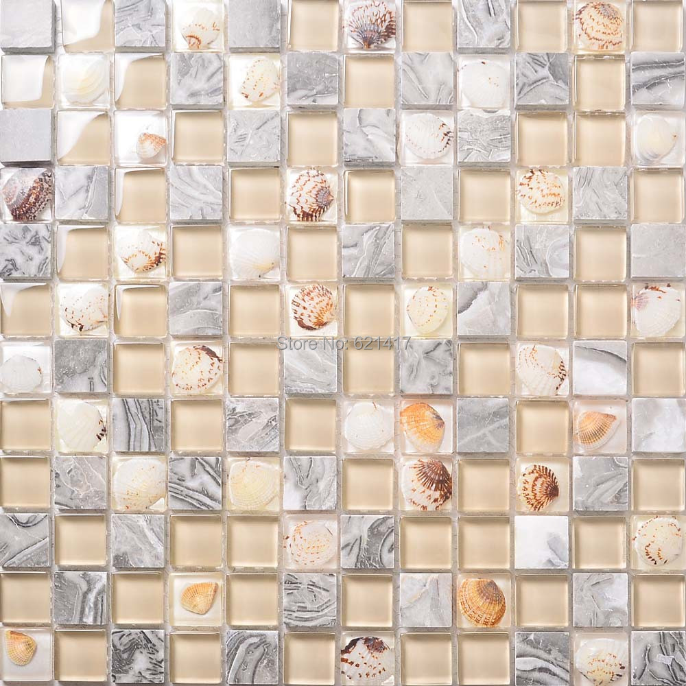 Здесь можно купить  crystal resin shell mosaic glass mosaic tiles HMGM1124 for kitchen backsplash decoration bathroom free shipping crystal resin shell mosaic glass mosaic tiles HMGM1124 for kitchen backsplash decoration bathroom free shipping Строительство и Недвижимость