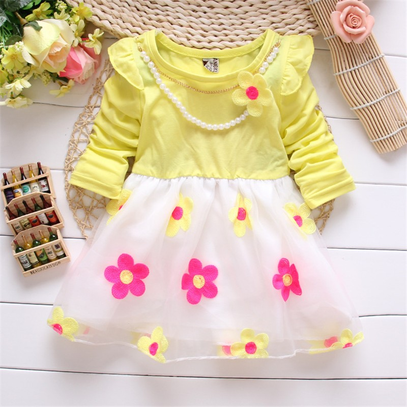 2016 New Spring autumn baby girls Dresses outfits Baby cute Dress kids flower dress children lace princess dress free shipping(China (Mainland))