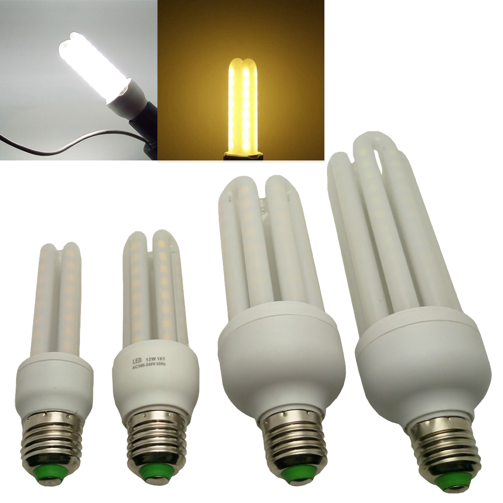 LJY LED! E27 2U 3W 6W 8W 3U 12W 4U 18W 24W 90-265V 5730 SMD LED Bulb Energy Saving Corn Lamp Light Warm or White(China (Mainland))