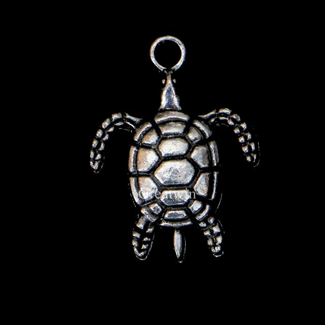 New Vintage Antique Silver Metal Alloy Sea Turtle Tortoise Fashion Jewelry Accessories Bracelet Charms Pendants 30pcs/lot(China (Mainland))