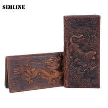Buy Vintage Handmade 3D Tiger Print 100% Genuine Crazy Horse Leather Cowhide Men Mens Long Wallet Wallets Purse Card Holder Man for $15.81 in AliExpress store