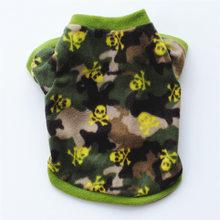 Warm Fleece Haustier Hund Kleidung Nette Schädel Gedruckt Pet Mantel Welpen Hunde Hemd Jacke Französisch Bulldog Pullover Camouflage Hund Kleidung(China)