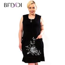 BFDADI настоящее горячая распродажа природнее летнее платье 2016 свободного покроя платье без рукавов с вышивкими цветами украшают большой размер 0920(China (Mainland))