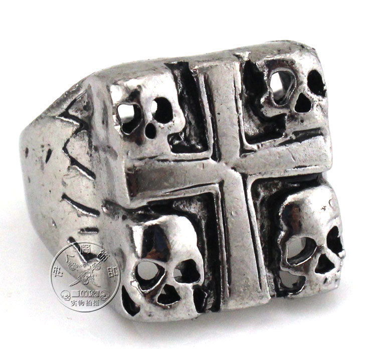fashion wiry jewelries dark rock specific unisex sexy rings punk jewelry cross four skull head pattern ring classic accessories(China (Mainland))