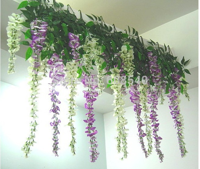 hot sale 105cm silk flower artificial flower wisteria vine rattan for christmas home garden. Black Bedroom Furniture Sets. Home Design Ideas