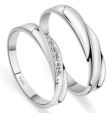 Share Silver Wedding Rings Sold by 2 Pcs His and Her Rings Couple Sparkly Flawless Swiss Cubic Zirconia Fashions Share J293