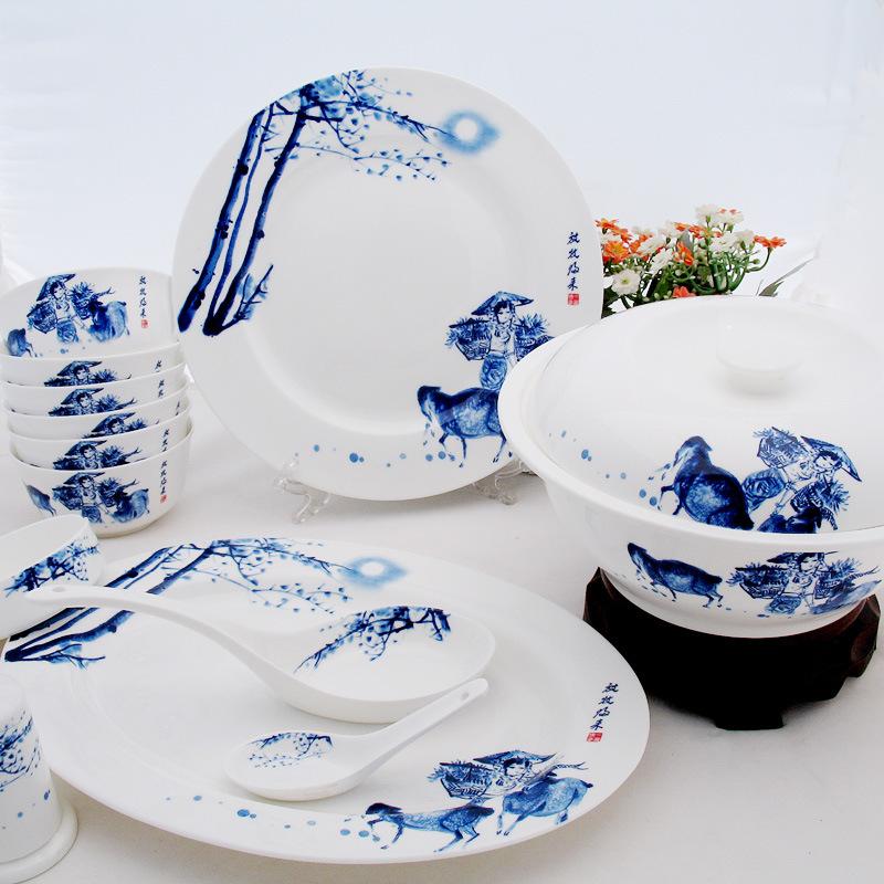 Prosperity ceramics wholesale 56 gift glazed blue and white bone china tableware set grazing Return<br><br>Aliexpress