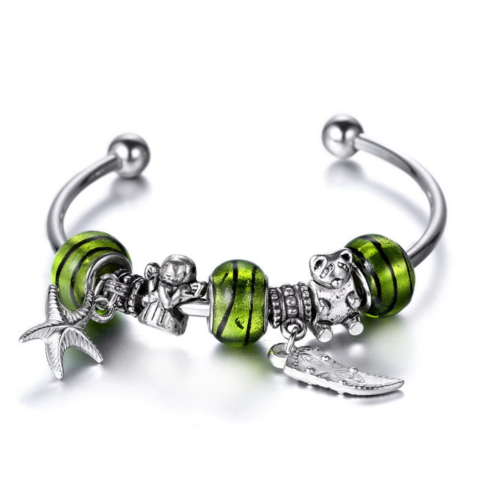 Daisies Murano Glass&Crystal Charm Beads Bracelets Adjustable diy jewelry for women murano beads openable bangle & bracelet(China (Mainland))