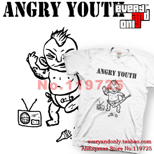 Angelic Angry Youth Street Punk Band Evil child and Radio 100% Cotton T-shirt Tee T Cloth(China (Mainland))