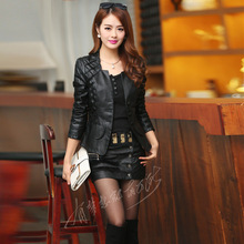 Lace patchwork faux leather jacket women slim pleated stand collar short single breasted leather jackets 2016 autumn winter(China (Mainland))