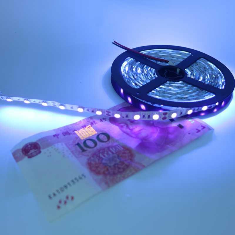 DC12V 5m UV black light Led Strip 5050 SMD 60led/m Non waterproof Ultraviolet Ray Purple Flexible Tape Ribbon lamp(China (Mainland))