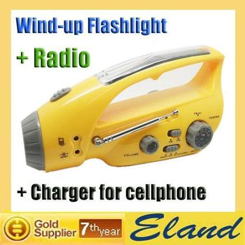 New product AM/FM Radio DC Dynamo Wind-up+Solar Flashlight with Radio&Charger for Cellphone