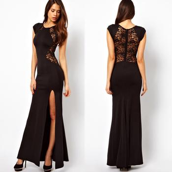 FanShou Free Shipping 2014 Women Spring Vestido Longo Sexy Lace Hollow Out Slit Evening Long Dress Maxi Plus Size XS-XXL 9570