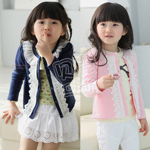 2012 autumn princess lace paragraph girls clothing baby cardigan wt-0555