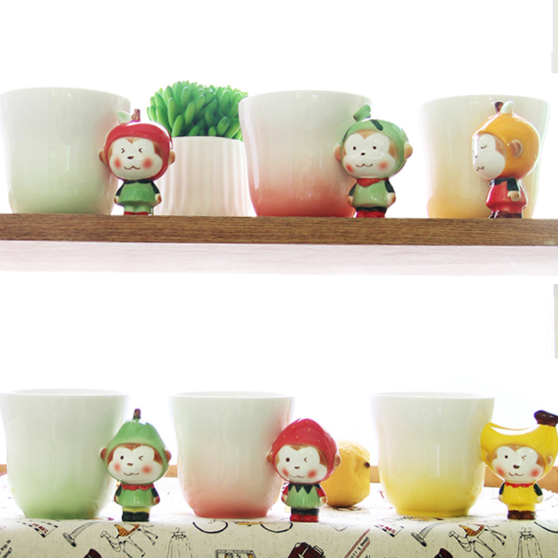 2016 New Funny Creative Ceramic Pet Mug Toy Milk Coffee Cups Novelty Monkey Fruit Handle Unique Christmas Kid Children Gift(China (Mainland))