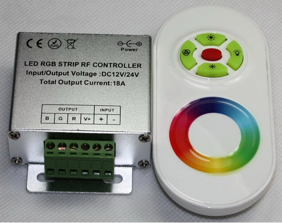 Multi-function RF Touching RGB LED Controller ,12v/24V,control all the full color LED lighting product,15 auto changing modes<br>