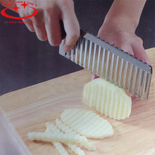 1Pc Stainless Steel Potato Wavy Edged Knife Gadget Vegetable Fruit Potato Cutter Peeler Cooking Tools Kitchen Knives Accessories(China (Mainland))