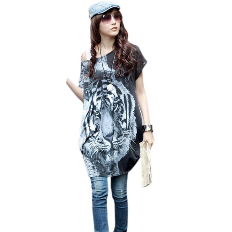 Zehui Style Fashion Summer Women Short Batwing Sleeve O-neck Loose Big Yards Tiger Printed T-shirt(China (Mainland))