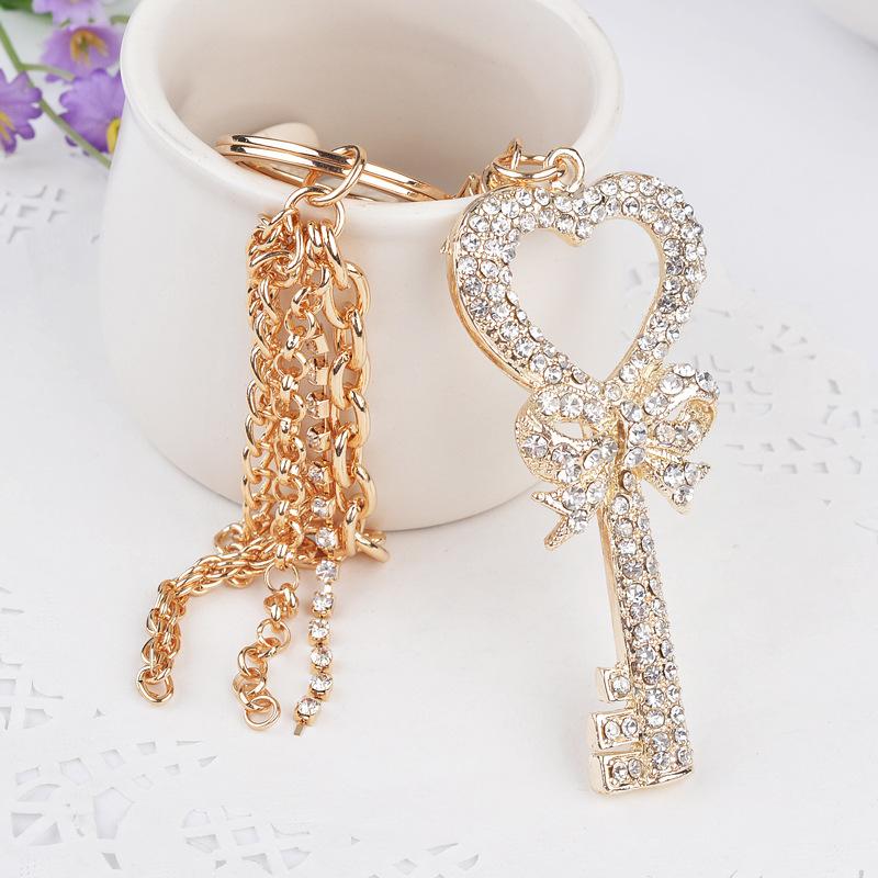 New Rhinestone key shape keychain Charm Pendent Crystal Purse Bag Key Chain Gift For Men and Women(China (Mainland))