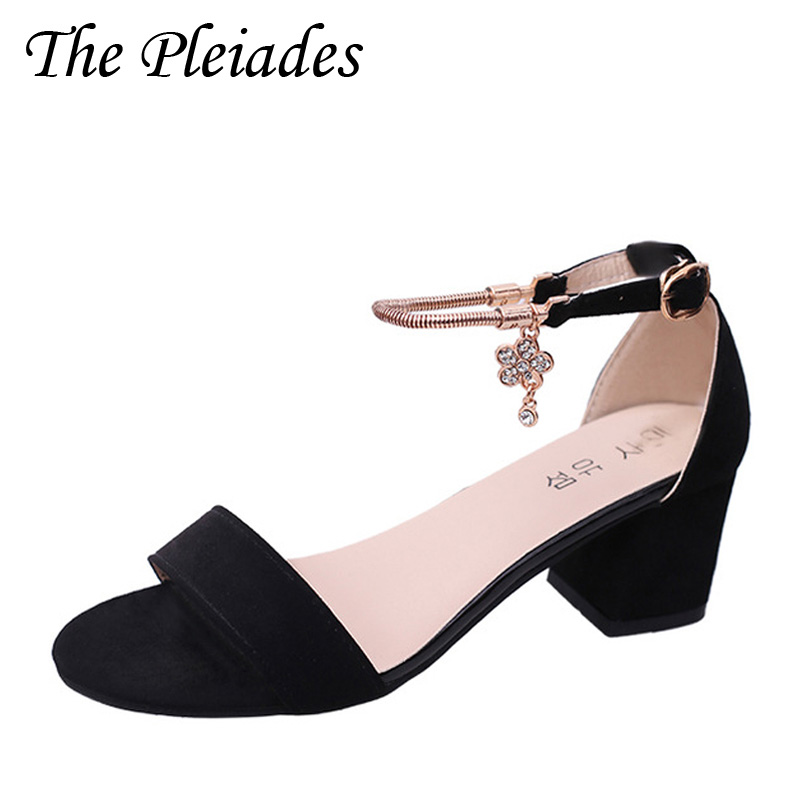 The Pleiades Women Cover Heel Buckle Ankle-Wrap Sandals Plus Size 34-40 2017 New Korean Type Med Heels Fish Mouth Shoes WL22(China (Mainland))