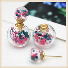 2016 new design fashion  double imitation pearl earrings Retro small fresh female line dried flowers glass earrings for girl(China (Mainland))
