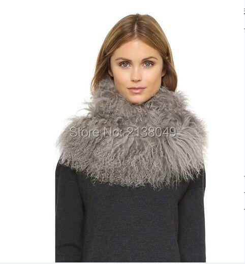 Fs005 155 * 12 см женщин мода длинный шарф монгольский ягненок меховая мода Scarves / монголия