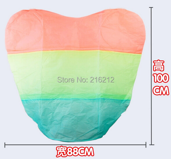 Rainbow Heart-shaped Paper Flying Chinese Lantern Kongming Light Floating Wedding birthday Party valentines gift(China (Mainland))