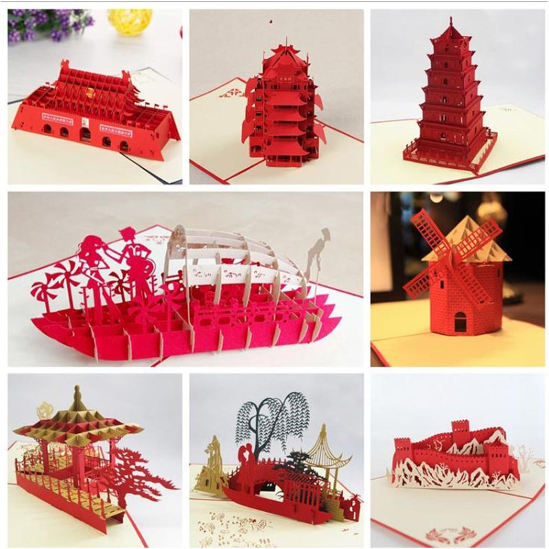 Free Shipping 3d Greeting Cards Gifts Diy Idea New Design