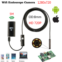 Buy 8mm 5M Wireless Wifi Endoscope Android Camera Borescope HD 1280 * 720 IP67 Waterproof Inspection IOS Iphone Endoscope Camera for $29.93 in AliExpress store