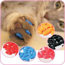 20pcs/pack Colorful Cats Dogs Kitten Paws Grooming Nail Claw Cap+Adhesive Glue Soft Rubber Pet Nail Cover/Paws Caps Pet Supplies(China (Mainland))