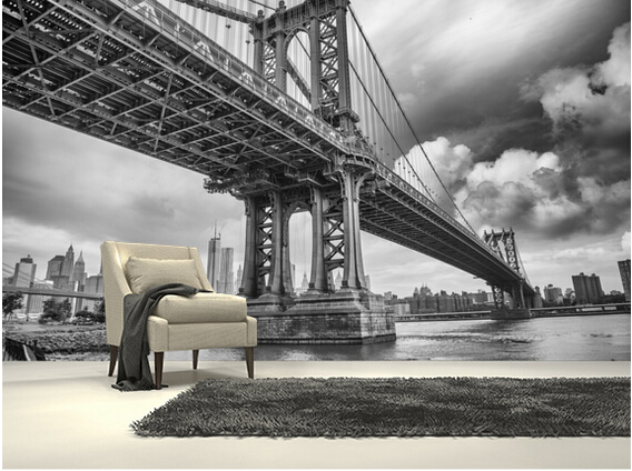 Custom black and white photo wallpaper new york bridge for Black and white new york mural wallpaper
