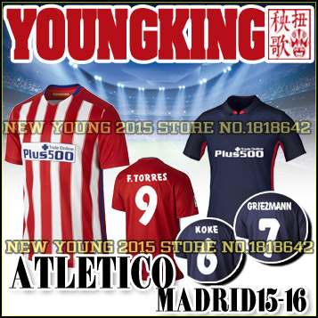 2016 Atletico da Soccer jersey 15 16 La Liga Madrid home away football shirt New font GRIEZMANN TORRES KONE COSTA GABI MANZUKIC(China (Mainland))