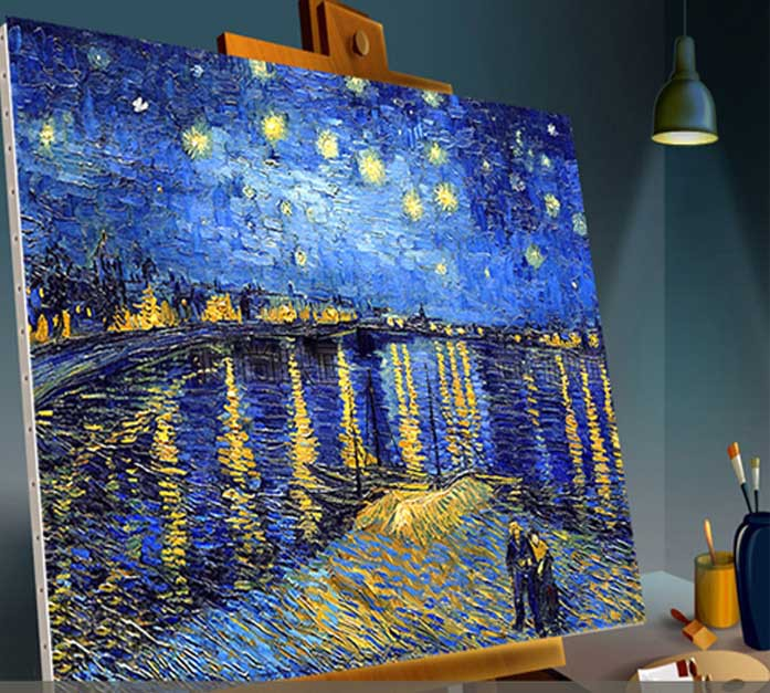 Van Gogh painted replica (sky) canvas art gallery set oil on canvas, modern home decorative murals, knife painting(China (Mainland))