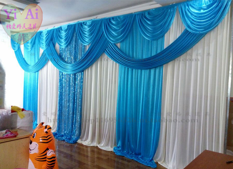 Wedding props decoration curtain blue background wedding for Backdrop decoration for church