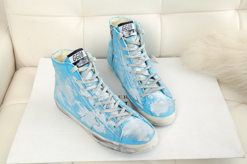 2015 Italy Brand New Golden Goose Men Casual Shoes Women Genuine Leather Blue High top GGDB Scarpe Basse Espadrilles