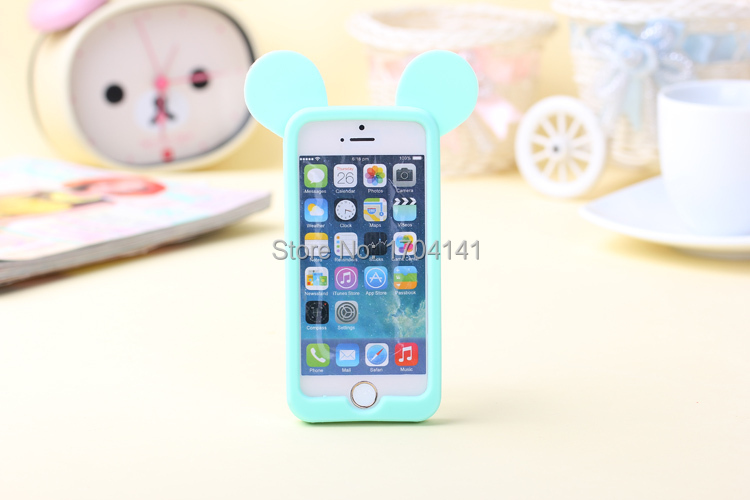 Wholesale Cartoon Lovely 3D Animal Ears Phone Cases Soft Cell Phones Case 4 Colors For iPhone 5S 5G(China (Mainland))