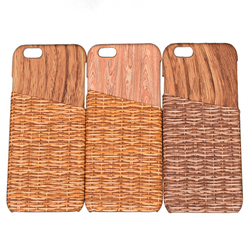 Hot Sale Wood Grain Design+Card Slot Woven Pattern Back Shell Cover for iPhone 6 6S 4.7Inch Mobile Phone Cases(China (Mainland))