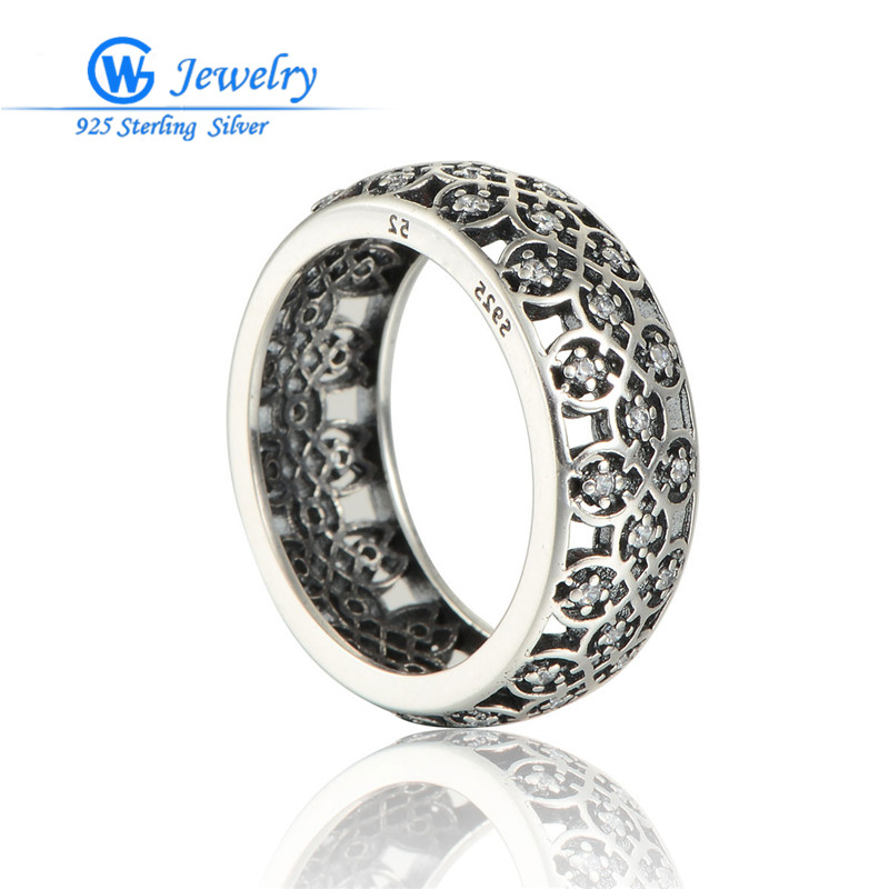 S925 Wedding Rings Sterling-Silver-Jewelry Cz Crystal Paved For Women Fashion Jewelry RIP149