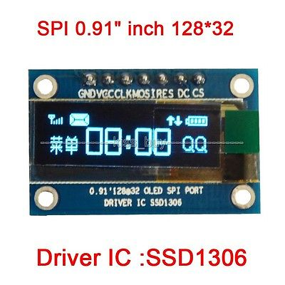 "SPI 0.91"" inch 128*32 Blue OLED Display Module DC 3.3v 5v Screen SSD1306 FOR UNO R3(China (Mainland))"