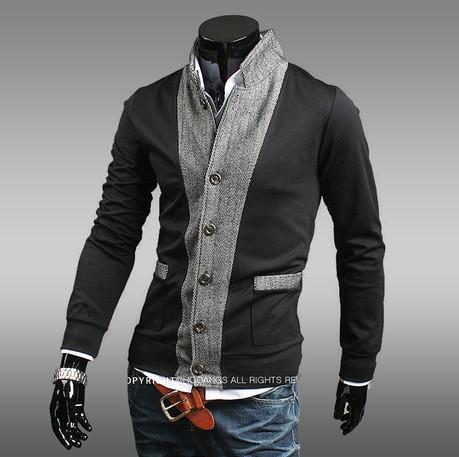 2014 Осень Зима новый мужчин мужская hooed шить воротник кардиган свитер пальто тонкий свитер мужчин хлопка куртка мужчин