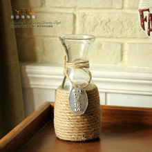 Free shipping hemp rope craft decorative glass  flowers vase plant pot centerpiece table decoration without flowers(China (Mainland))