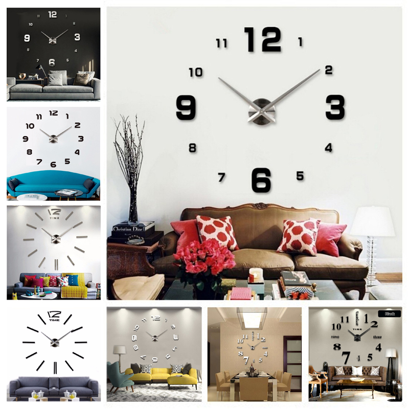 DIY 3d Home Decoration Wall Clock Big Mirror Modern Design,Large Size Clocks.DIY Sticker Unique Gift - AIWALL's Store store